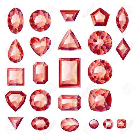 416817810fad Conjunto de joyas rojas realistas. Las piedras preciosas de colores. Los  rubíes aislados sobre fondo blanco. Foto de archivo - 35612976