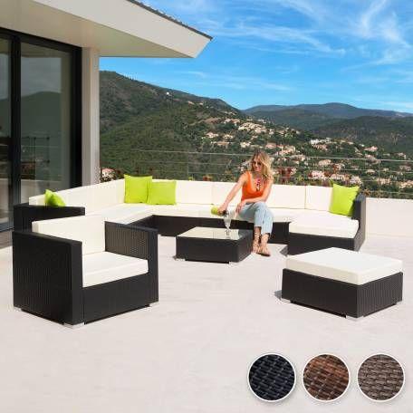 Rattan Lounge Mit Aluminiumgestell Las Vegas Schwarz Rattan Gartenmobel Garten Design Eleganter Tisch