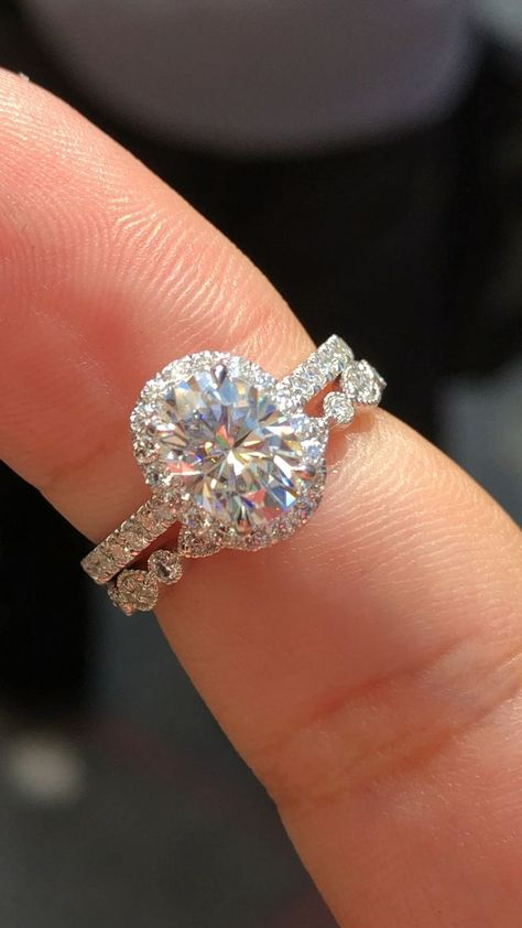 Princess Kylie Round Center Cubic Zirconia Bar Set Stackable Bridal Ring Rhodium Plated Sterling Silver
