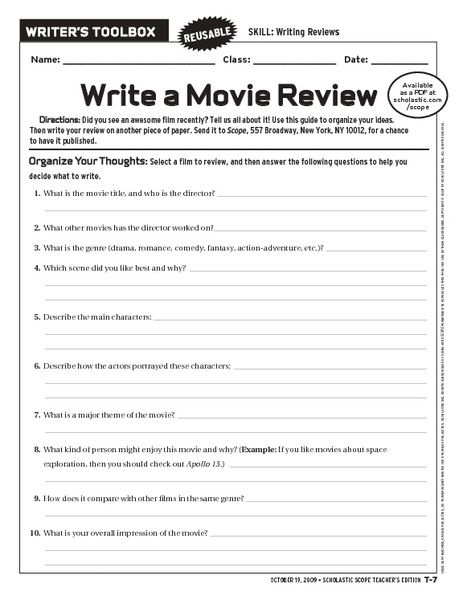 Write A Movie Review Worksheet Teaching Paragraph Writing Essay Paragraphs How To
