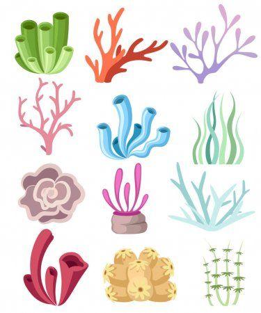 Coleccion De Algas Y Corales De Colores Diseno Floral De Alta Mar Oceano Flora Y Fauna Ilustracion De Vector Plano Aislado Sobre Fondo Blanco Ilustracion