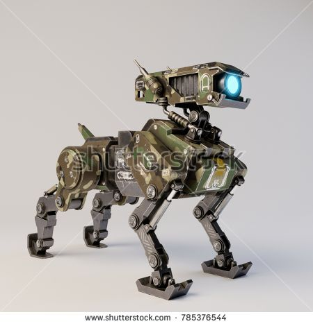 Isometric Robot Dog On White Background 3d Rendering Sci