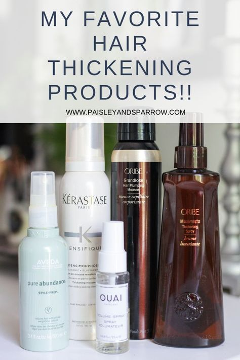 6 amazing hair thickening products for thin and fine hair! Such a great list. Definitely going to try one of these! #hairproducts #finehair