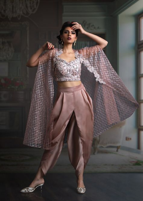 Dhoti blouse with cape in pale pink from Veer Design Studio.#Frugal2Fab