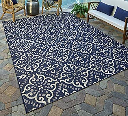 Amazon Com Gertmenian 21565 Nautical Tropical Carpet Outdoor Patio Rug 5x7 Standard Navy Blue Floral Medal In 2020 Outdoor Rugs Patio Patio Rugs Large Outdoor Rugs