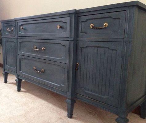Gray Chalk Painted Dresser, Dark Gray Chalk Paint Furniture