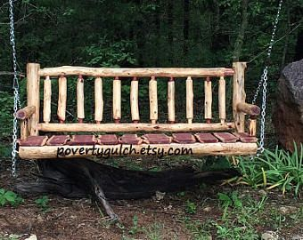 Free Shipping 5 Ft Eastern Red Cedar Log Porch Swing Rustic Porch Swing Log Porch Swing Rustic Bir Porch Swing Porch Swing Plans Rustic Patio Furniture