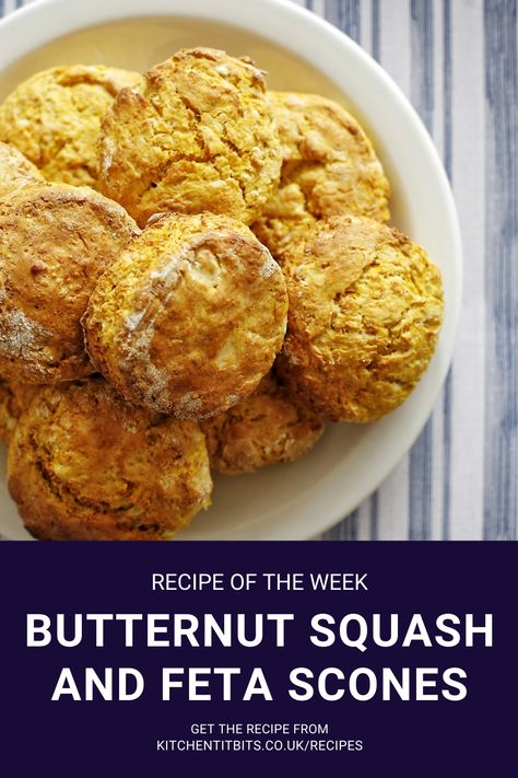 Scones are great, not just for afternoon tea, but also for lunch or snack. These butternut squash and feta scones make for a savoury change and a way of getting another veg into us and our children. Even better, you only need half a medium-sized butternut squash for this recipe, so it's great for using up any leftover squash. You could also swap the squash for a sweet potato. #recipe #homecooking #scones #quickandeasymeals #snacktime #speedymeals #butternutsquash #feta #lunchtime