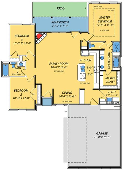 Plan 83853jw Small House With Giant Family Room Acadian House Plans House Plans Floor Plans