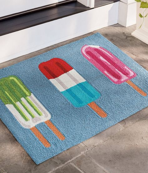 Our Ice Pop Trio Hooked Door Mat is handcrafted from durable polypropylene, so it's perfect outdoors or inside, it's easy to clean, and ideal for lots of busy foot traffic.