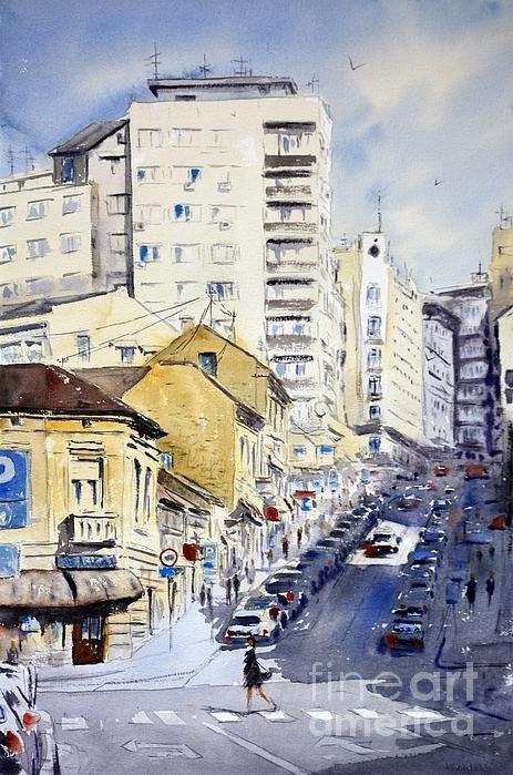 Senke Nad Balkanskom Beograd 35x54cm 2020 By Nenad Kojic Abstract Watercolor Landscape Original Watercolor Art Watercolor Landscape Paintings