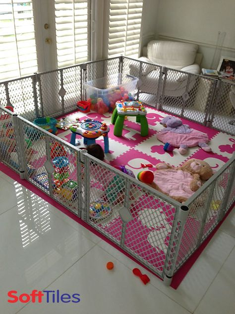 Home Decor Living Room Girls Play Mats using custom SoftTiles Safari Animals in Pink and White. This playard uses SoftTiles to create a soft flooring on a tile floor. Home Daycare, Daycare Ideas, Daycare Rooms, Daycare Setup, Baby Play Areas, Toddler Play Area, Baby Play Yard, Baby Gate Play Area, Soft Flooring