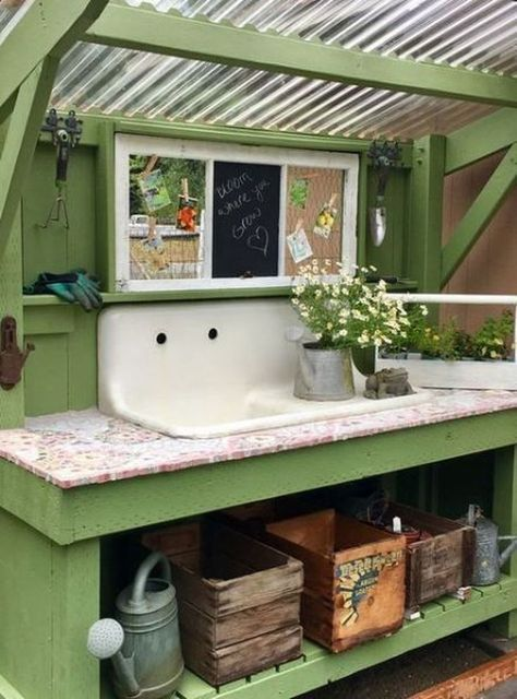 40 awesome garden sink ideas that must have to outdoors bed garden shed design garden shed diy garden shed ideas garden shed organization garden shed plans raised Outdoor Potting Bench, Potting Tables, Potting Bench With Sink, Shed Design, Home Design, Diy Design, Modern Design, Interior Design, Shed Conversion Ideas