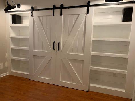 Barn Door Bookcase, Murphy Bed Bookcase, Murphy Bed Office, King Murphy Bed, Build A Murphy Bed, Murphy Bunk Beds, Guest Bedroom Office, Home Bedroom, Guest Room