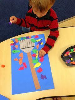 Rake & Leaf Art (from Preschool Wonders) Teach fall vocabulary, colors, even final /f/ as you create! (Red leaf, orange leaf, yellow leaf, green leaf.)