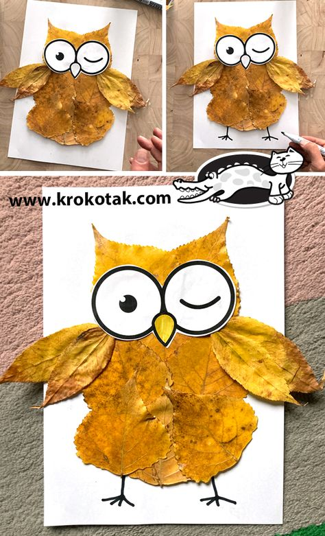 Boy Diy Crafts, Fall Crafts For Kids, Autumn Crafts, Holiday Crafts, Art For Kids, Owl Crafts Kids, Halloween Games For Kids, Leaf Crafts, Nature Crafts