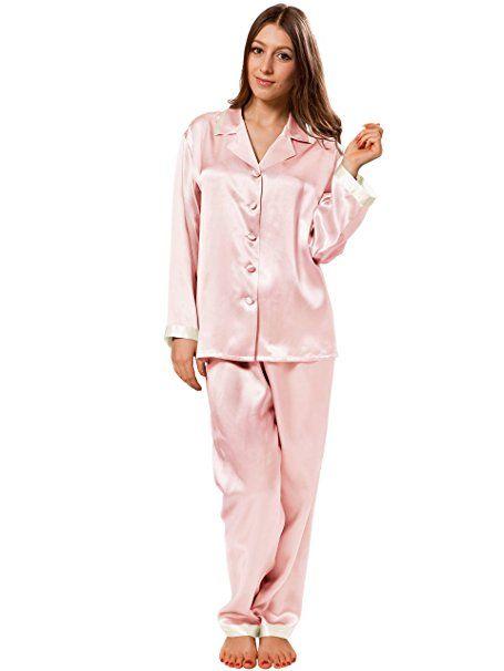 los angeles e574c 3a9e7 ELLESILK Seide Zweiteilig Schlafanzug, Pyjama für Damen ...