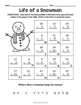 Secret Code Christmas Math Riddle Worksheets Math Riddles Christmas Math Math