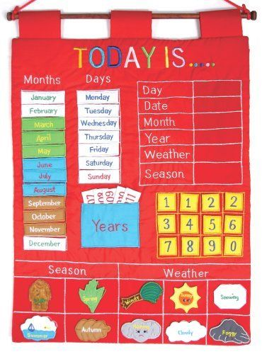 "Alma's Designs Today Is by Alma's Designs. $25.18. From the Manufacturer                Today Is a colorful wall calendar. Children will delight in learning the days of the week, months of the year, seasons, and weather. It is a great addition to any child's room. This builds motors skills with manipulation of pieces. It is interactive and educational. This enhances vocabulary learning.                                    Product Description                ""Our wall ..."