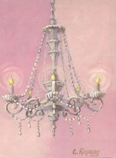 Original Canvas Paintings Art Prints, Pink Chandelier Wall Art