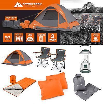 0c9e55a5a9bd Camping Equipment Set Family Cabin 4 Person Tent Sleeping Bag Chairs Hiking  Gear