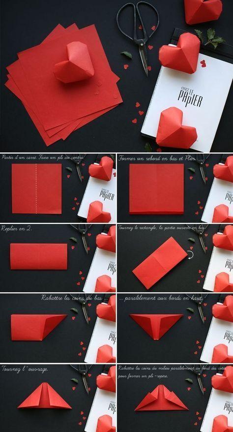 origami coeur papier diy