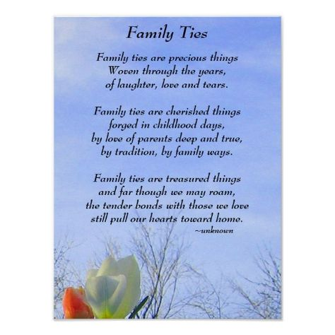 Family Ties poem Poster $11.95