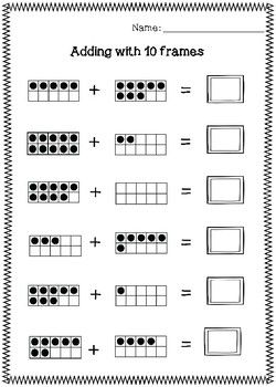 Adding 10 Frames Worksheets Worksheets 10 Frame Math Centers