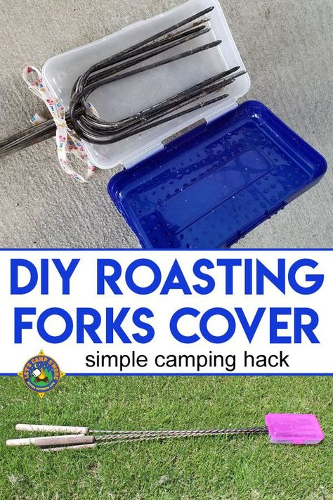 DIY Roasting Forks Cover Tutorial - Tired of your marshmallow forks making a mess and poking things when you go camping? Create this DIY Roasting Forks Cover with a plastic pencil box. camping tips tricks, best camping hacks, camping products Camping 101, Camping Survival, Camping Ideas, Homestead Survival, Camping Hacks With Kids, Camping Glamping, Camping Essentials, Camping Life, Family Camping