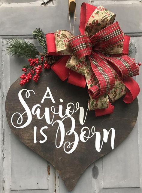 Christmas Santa Value Sign MDF with Glitter and Ribbon Hanger