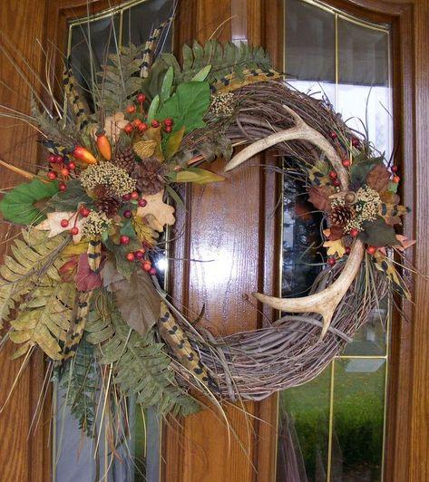 my deer antler wreath smaller slightly different than the crafts, seasonal holiday decor, wreaths Deer Antler Crafts, Antler Wreath, Hunting Wreath, Feather Wreath, Antler Art, Feather Crafts, Wreath Crafts, Diy Wreath, Wreath Ideas