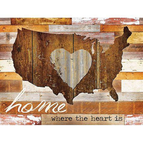 MA993  24 x 18  Home where the heart is I / wood by ArtByMarlaRae