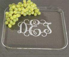 Monogrammed Acrylic Medium Snack Trays