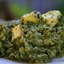 "Authentic Saag Paneer | ""Saag paneer is a classic Indian dish of cooked spinach studded with cubes of fried paneer cheese. Thickened with cream or coconut milk, it's a hearty and filling vegetarian meal."" http://allrecipes.com/recipe/authentic-saag-paneer/detail.aspx"