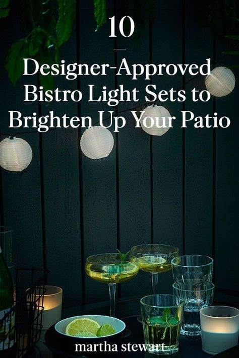 These are the outdoor café lights that interior designers use in spaces they design and their homes. See the full list of the best affordable café lights for any budget to the best solar powered lights and more. #marthastewart #homedecor #gardenideas #porchdecoratingideas #curbappeal