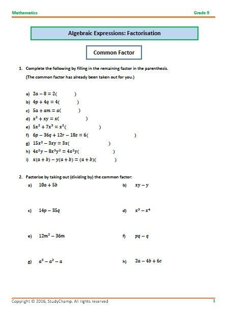 Grade 9 Mathematics Algebra Factorisation Algebraic Expressions Math Addition Worksheets Mathematics Grade 9 math worksheets