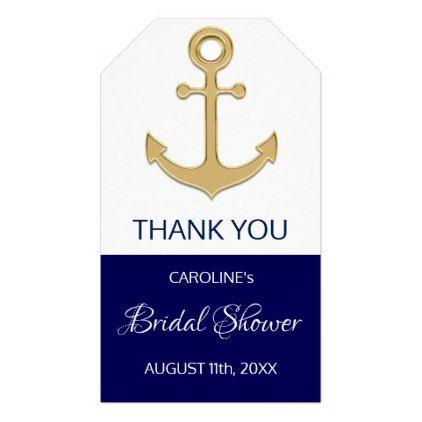 Thank You Nautical Navy Blue Anchor Bridal Shower Gift Tags Zazzle Com Nautical Bridal Shower Favors Anchor Bridal Shower Nautical Bridal Showers