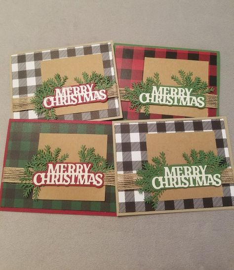 Christmas Cards, Buffalo Plaid Christmas Cards, Plaid Christmas Card Set, Premium Christmas Cards,Mix and Match, Build Your Own, 4 Pack, Red