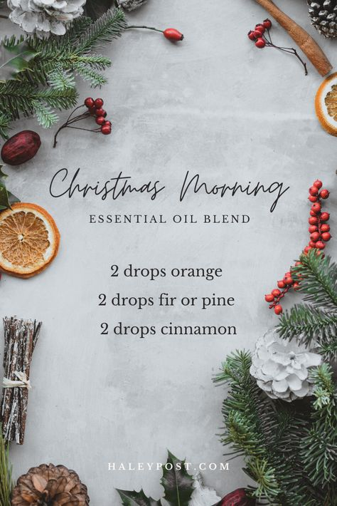 This DIY essential oil blend smells like Christmas morning. Orange, evergreen, and cinnamon bring together the best holiday scents. Essential Oils Christmas, Pine Essential Oil, Cinnamon Essential Oil, Essential Oil Candles, Essential Oil Diffuser Blends, Doterra Essential Oils, Orange Essential Oil, Christmas Scents, Christmas Morning