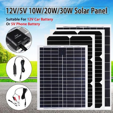 Flexible Solar Panel Plate 12v 5v 30w 20w 10w Solar Charger For Car Battery 12v 5v Phone Battery Charger Sunpower Chi In 2020 Solar Charger Phone Battery Charger Solar