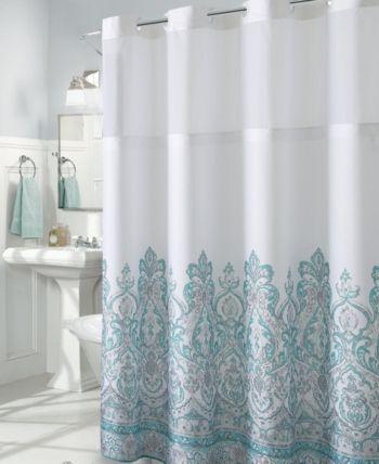Hookless Damask Border Print 3 In 1 Shower Curtain Blue