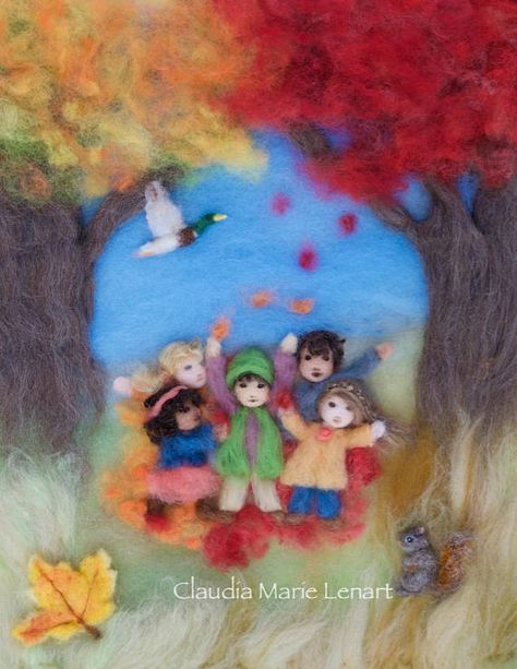 Autumn Leaves Wool Painting Illustration Giclee Print from Seasons of Joy, a Waldorf inspired picture book