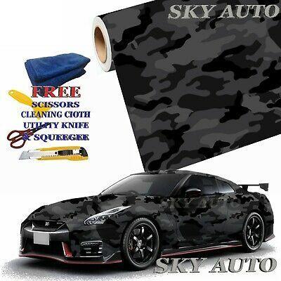 Black Gray Camo Camouflage Vinyl Car Wrap Film Sheet Free Tools Vinyl Wrap Car Vinyl Wrap Car Wrap