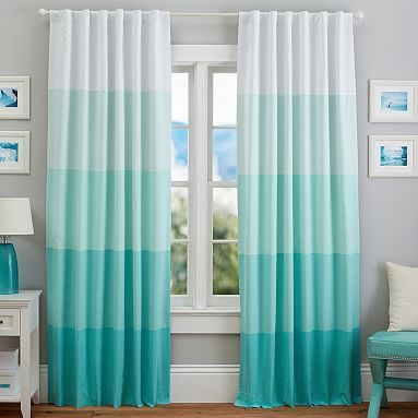 I like this ombre look, and this color is perfect. It's no longer available, but I could easily make these. Color Splash Stripe Blackout Drape #pbteen