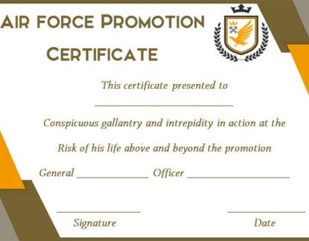 Promotion Certificate Template Airforce Certificate Template Army Template Air Force Promotion