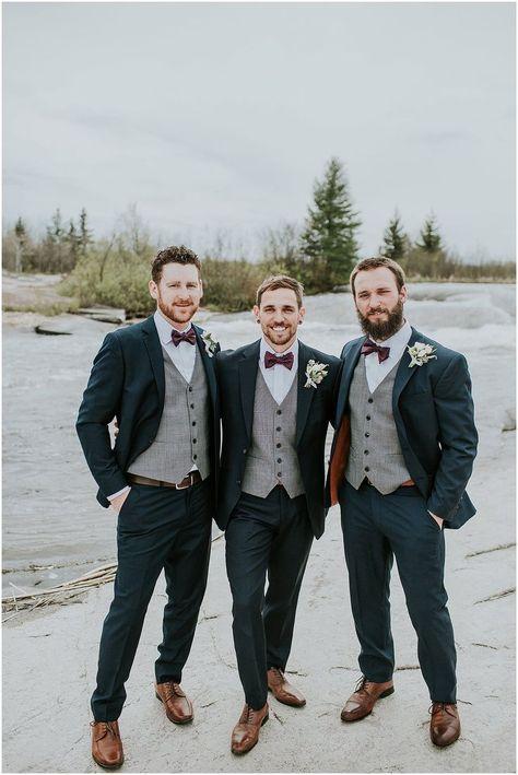 groomsmen no jacket Grey Suits - Wedding