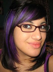 Manic Panic Ultra Violet™ vegan hair dye-- purple highlights on brown hair