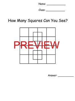 How Many Squares Math Brain Teaser Worksheet And Solution With Powerpoint Brain Teasers Math Worksheets