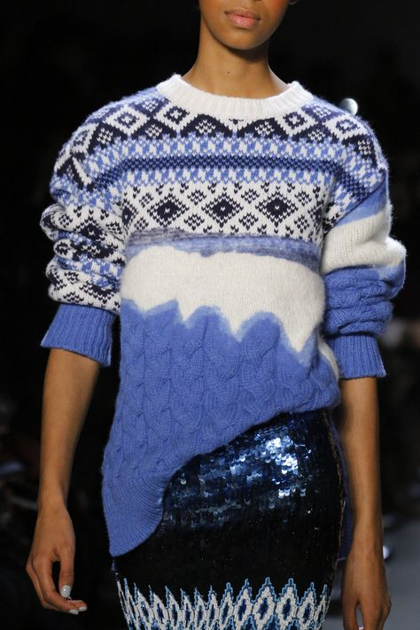 Winter classic: Nordic pattern cable-knit sweaters at Prabal Gurung Fall Winter 2018 NYFW.