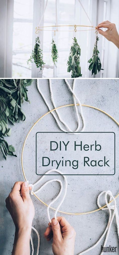 diy garden Start making your own dried herbs at home with the help of this DIY herb drying rack. This stylish yet functional kitchen tool helps to preserve herbs by hanging them upside down, allowing them to dry slowly and evenly. Herb Drying Racks, Drying Herbs, Herb Rack, Pot Mason Diy, Mason Jar Crafts, Diy Kitchen, Kitchen Tools, Kitchen Herbs, Kitchen Decor